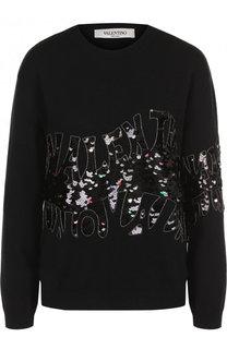 Однотонный кашемировый пуловер с декоративной отделкой Valentino