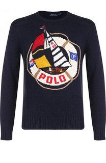 Джемпер из смеси хлопка и льна с аппликацией Polo Ralph Lauren