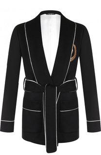 Кашемировый пиджак с поясом и шалевыми лацканами Dolce & Gabbana
