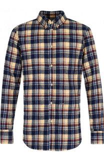 Хлопковая рубашка в клетку с воротником button down Dsquared2