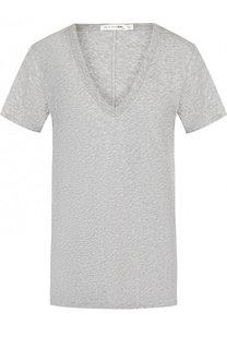 Однотонная хлопковая футболка с V-образным вырезом Rag&Bone