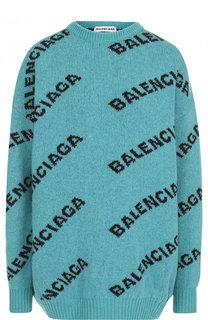 Шерстяной пуловер с круглым вырезом и логотипом бренда Balenciaga