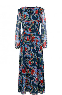 Шелковое платье-миди с принтом Escada