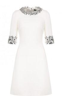 Приталенное шерстяное платье с пайетками Dolce & Gabbana