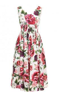 Хлопковое платье-миди с V-образным вырезом и принтом Dolce & Gabbana