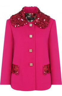 Шерстяной жакет с укороченным рукавом и декоративной отделкой Dolce & Gabbana