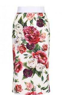Юбка-карандаш с эластичным поясом и принтом Dolce & Gabbana