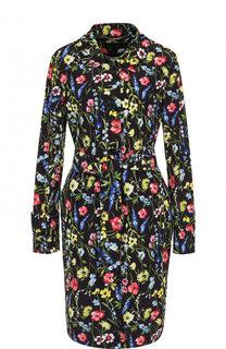 Пальто с поясом и цветочным принтом Escada