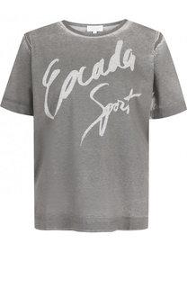 Хлопковая футболка с круглым вырезом и принтом Escada Sport