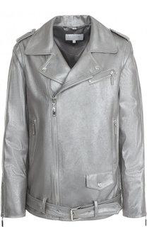 Кожаная куртка с косой молнией Escada Sport