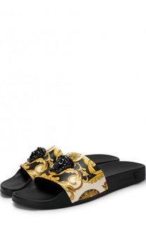 Кожаные шлепанцы Palazzo с принтом Versace