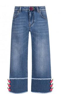 Укороченные джинсы с декоративной отделкой и бахромой Dolce & Gabbana