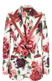 Приталенный жакет с контрастной отделкой и принтом Dolce & Gabbana