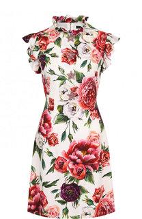 Приталенное мини-платье с оборками и принтом Dolce & Gabbana