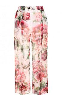 Укороченные шелковые брюки с принтом Dolce & Gabbana