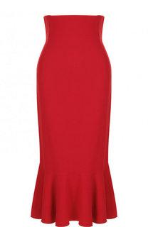Однотонная юбка-миди с завышенной талией и оборкой Dolce & Gabbana