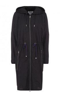 Однотонное пальто с капюшоном и эластичным поясом BOSS