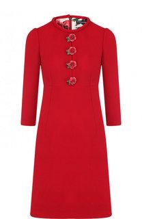Шерстяное мини-платье с круглым вырезом и декоративной отделкой Dolce & Gabbana