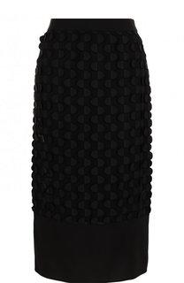 Однотонная юбка-миди с декоративной отделкой BOSS