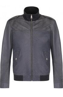 Кожаная куртка-бомбер с воротником-стойкой Just Cavalli