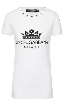Хлопковая футболка с декоративной отделкой и принтом Dolce & Gabbana