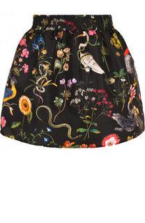 Мини-юбка с принтом и эластичным поясом REDVALENTINO