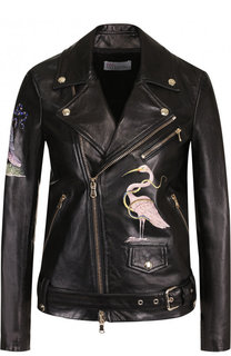 Кожаная куртка с поясом и декоративной вышивкой REDVALENTINO