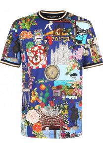 Футболка из смеси хлопка и шелка с принтом Tour dItalie Dolce & Gabbana