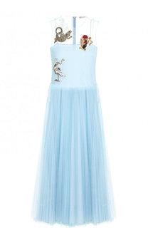 Однотонное платье-миди с круглым вырезом и декоративной отделкой REDVALENTINO