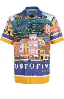 Хлопковая рубашка с принтом Portofino Dolce & Gabbana