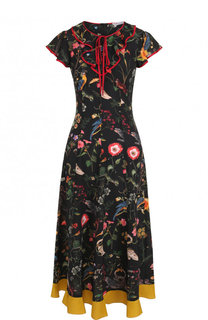 Шелковое платье-миди с оборками и принтом REDVALENTINO