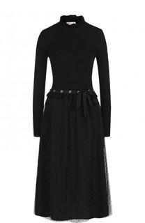 Шерстяное платье-миди с воротником-стойкой REDVALENTINO