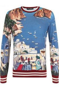 Джемпер из смеси кашемира и шелка с принтом Tour dItalie Dolce & Gabbana