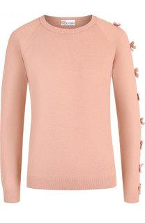 Однотонный пуловер с круглым вырезом и декоративной отделкой REDVALENTINO