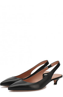 Кожаные туфли на каблуке kitten heel BOSS