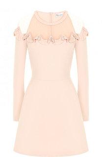 Приталенное мини-платье с полупрозрачной вставкой REDVALENTINO