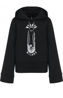 Хлопковый пуловер с капюшоном и принтом Versus Versace