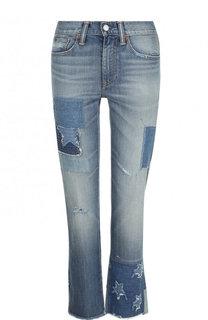 Укороченные джинсы с потертостями и декоративной отделкой Polo Ralph Lauren