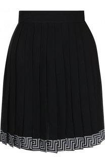 Шелковая мини-юбка в складку с контрастной отделкой Versace