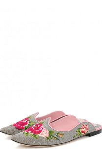 Текстильные сабо Aladino с вышивкой Dolce & Gabbana