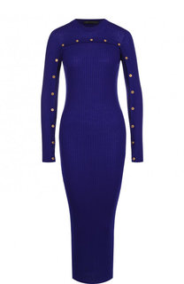 Шерстяное платье-миди с контрастными пуговицами Versace