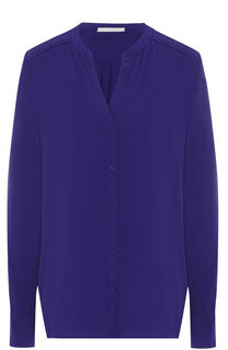 Однотонная шелковая блуза с вырезом BOSS