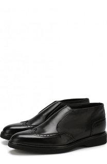 Кожаные ботинки с брогированием и внутренней меховой отделкой Doucals