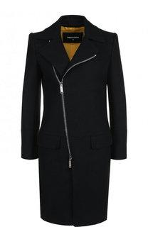 Однотонное шерстяное пальто с косой молнией Dsquared2