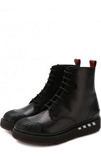 Высокие кожаные ботинки Valentino Garavani на шнуровке с молнией Valentino