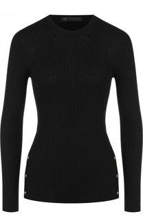 Шерстяной пуловер с круглым вырезом и контрастными пуговицами Versace