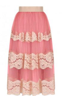 Юбка-миди с кружевной отделкой Dolce & Gabbana