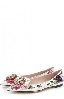 Лаковые балетки Bellucci с цветочным принтом и брошью Dolce & Gabbana