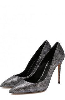 Туфли из металлизированного текстиля на шпильке Casadei