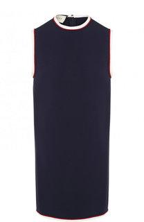 Мини-платье с круглым вырезом и контрастной отделкой Gucci